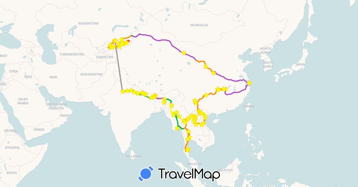 TravelMap itinerary: driving, bus, plane, cycling, train, hiking, boat, hitchhiking, motorbike, métro, taxi / shared car, tuk-tuk in China, India, Kyrgyzstan, Kazakhstan, Laos, Myanmar (Burma), Nepal, Thailand, Vietnam (Asia)